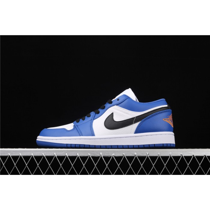 Air Jordan 1 Low Black Logo White Blue AJ1 Shoe