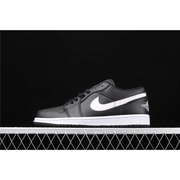 Air Jordan 1 Low Black White Logo AJ1 Shoe