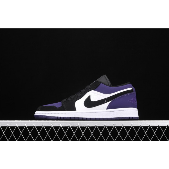 Air Jordan 1 Low Court Purple White Black Logo AJ1 Shoe