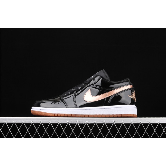 Air Jordan 1 Low Light Black Golden Logo AJ1 Shoe