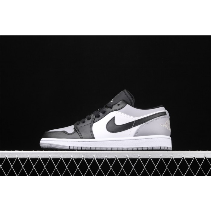 Men's Air Jordan 1 Low Black Logo Gray White Shoe