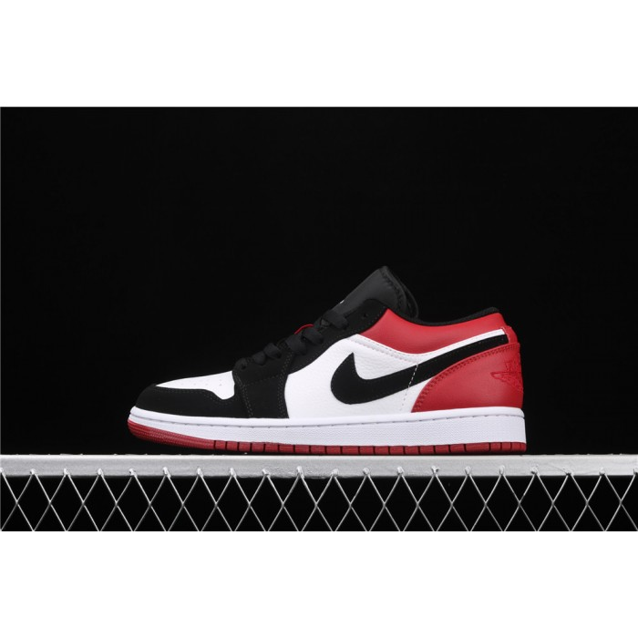 Men's Air Jordan 1 Low Black Logo Red White Shoe