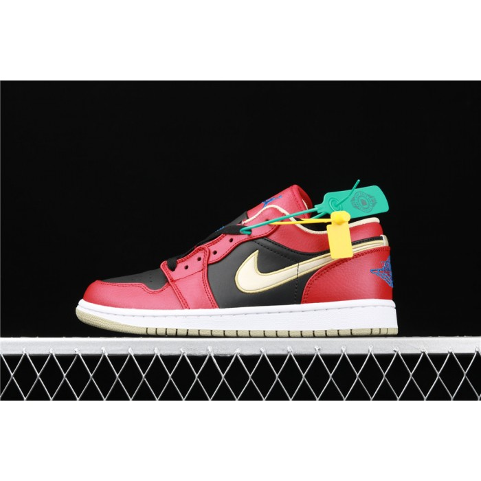 Men's Air Jordan 1 Low Black Red Golden Shoe