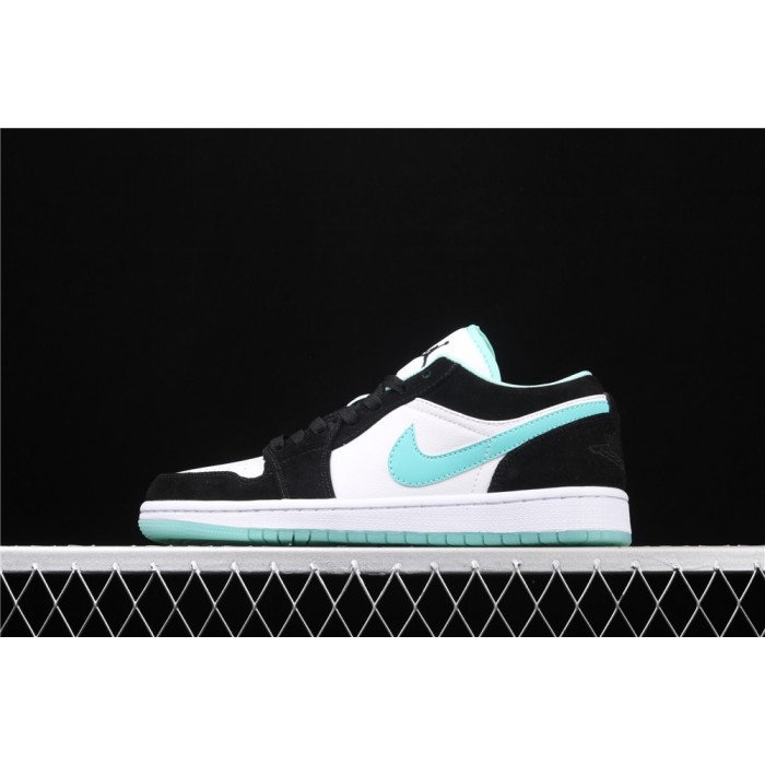 Men's Air Jordan 1 Low Black White Azure Logo Shoe