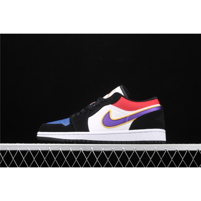 Men's Air Jordan 1 Low Black White Purple Logo Shoe