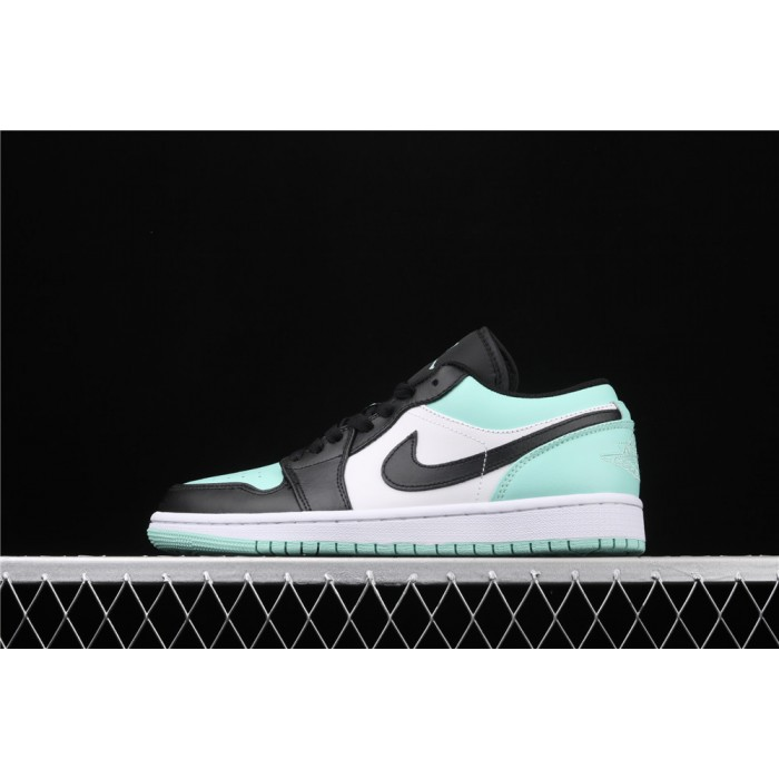 Men's Air Jordan 1 Low White Azure Black Logo Shoe