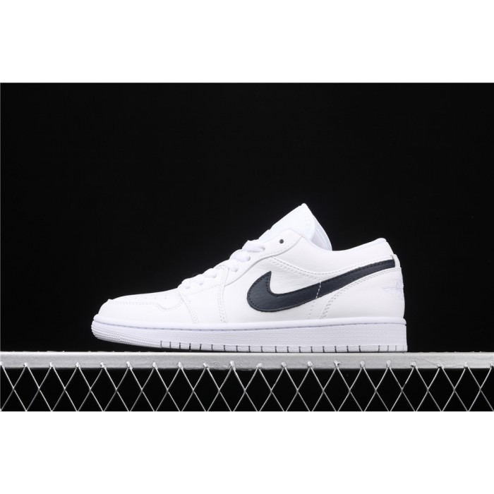 Men's Air Jordan 1 Low White Black Logo Shoe