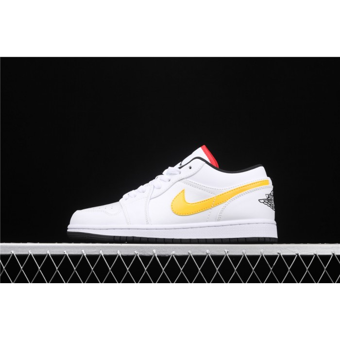 Men's Air Jordan 1 Low Yellow Red Logo Shoe