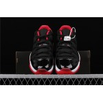 Men's Air Jordan 11 Low Bred In Black White Red AJ11 Shoe