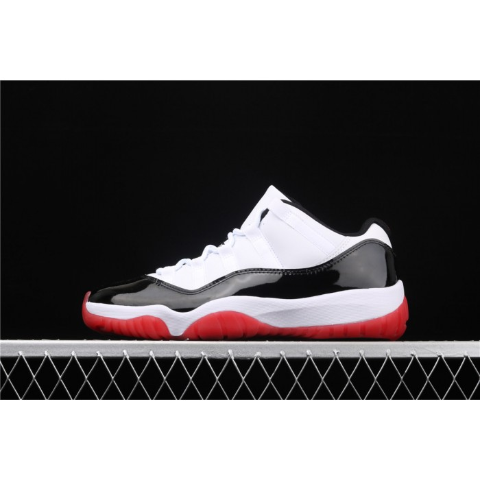 Men's Air Jordan 11 Low Retro In White Black Red AJ11 Shoe
