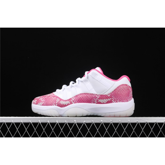Women's Air Jordan 11 Low Retro Snakeskin In Rose Red AJ11 Shoe
