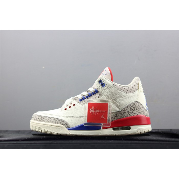 Men's Air Jordan 3 Charity Game In White Blue AJ3 Shoe