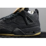 Levis x Air Jordan 4 In Black AJ4 Shoe