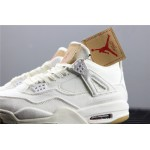 Levis x Air Jordan 4 In White AJ4 Shoe