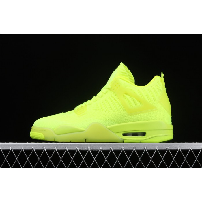 Men's Air Jordan 4 Flyknit In Fluorescent Green AJ4 Shoe