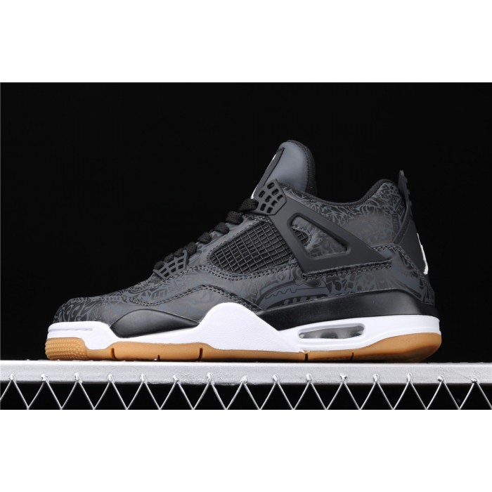 Men's Air Jordan 4 Laser 3M In Black AJ4 Shoe