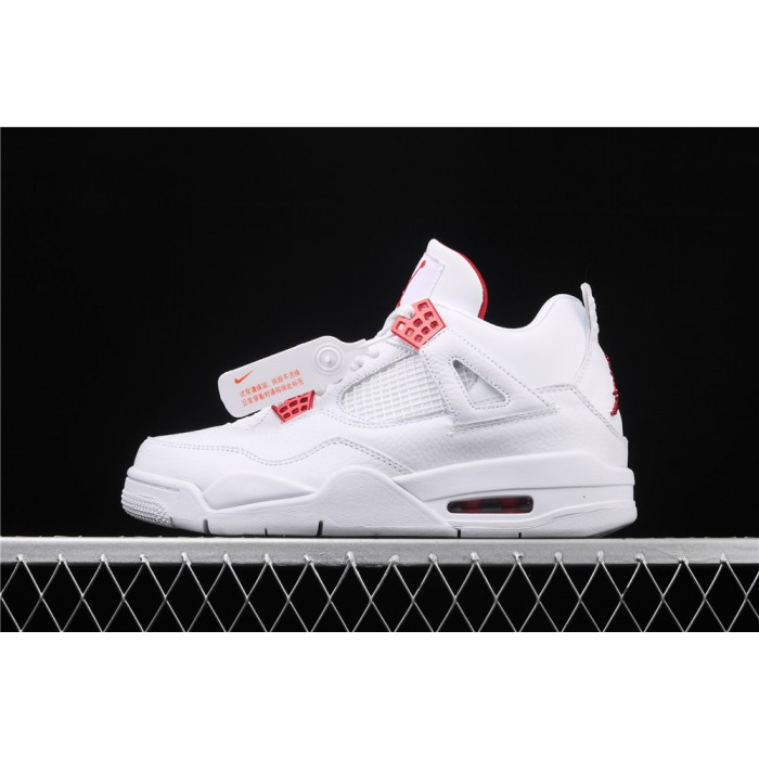 Men's Air Jordan 4 Red Metallic Flight In White AJ4 Shoe