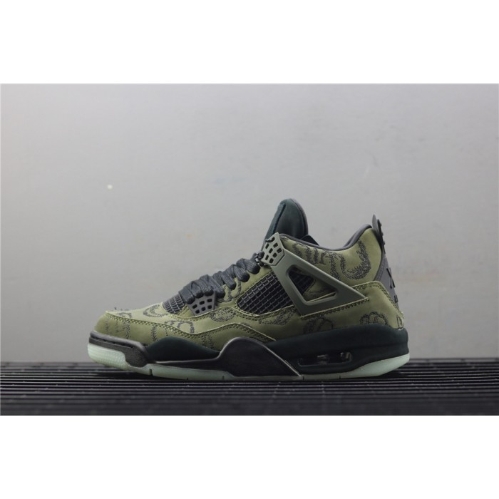 Men's Air Jordan 4 Retro Embroidery In Army Green AJ4 Shoe