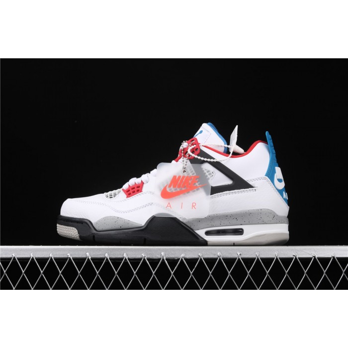 Men's Air Jordan 4 What The Flight In White Blue Gray AJ4 Shoe
