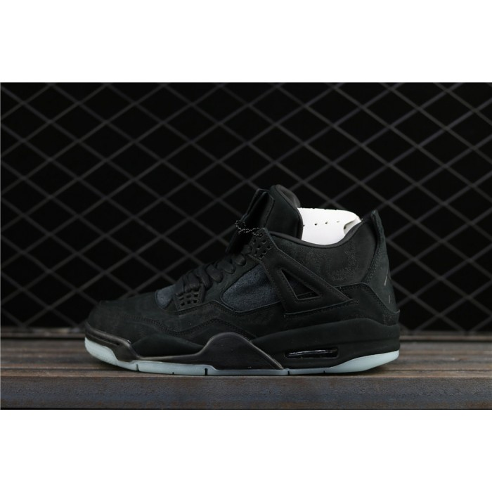 Men's Kaws x Air Jordan 4 Black In Dark Green Luminous AJ4 Shoe