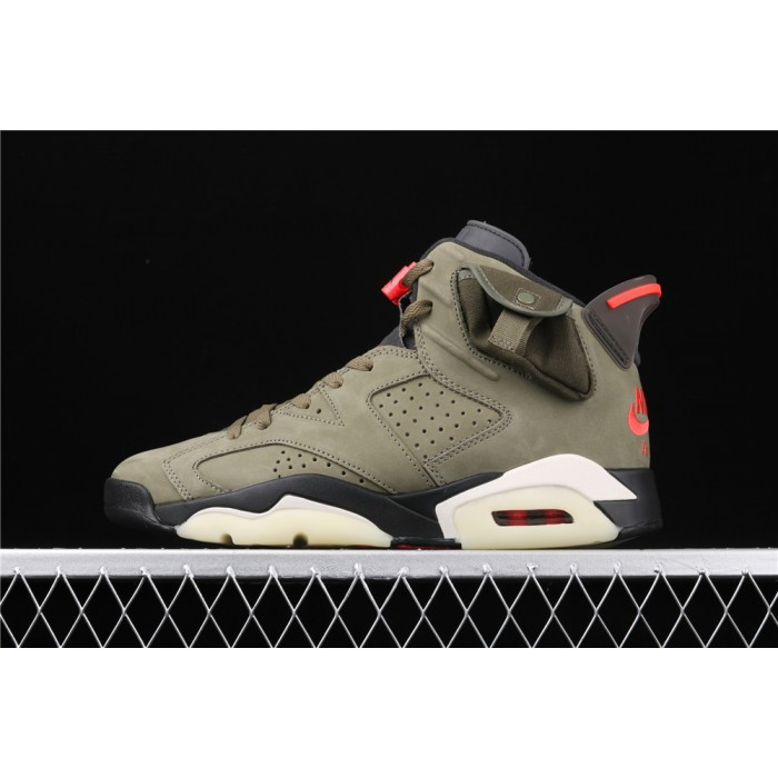 Men's Travis Scott x Air Jordan 6 TS In Army Green AJ6 Shoe