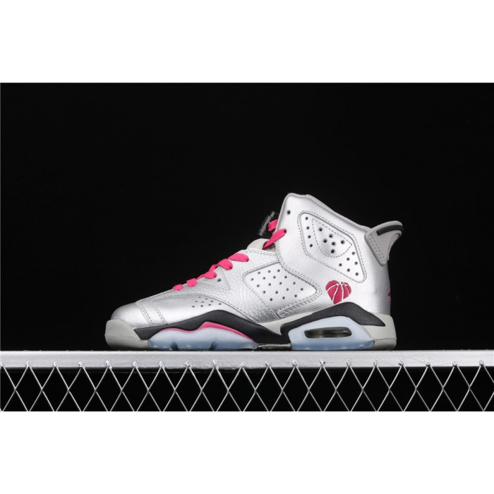 Women's Air Jordan 6 GS Valentines Day In Silver AJ6 Shoe