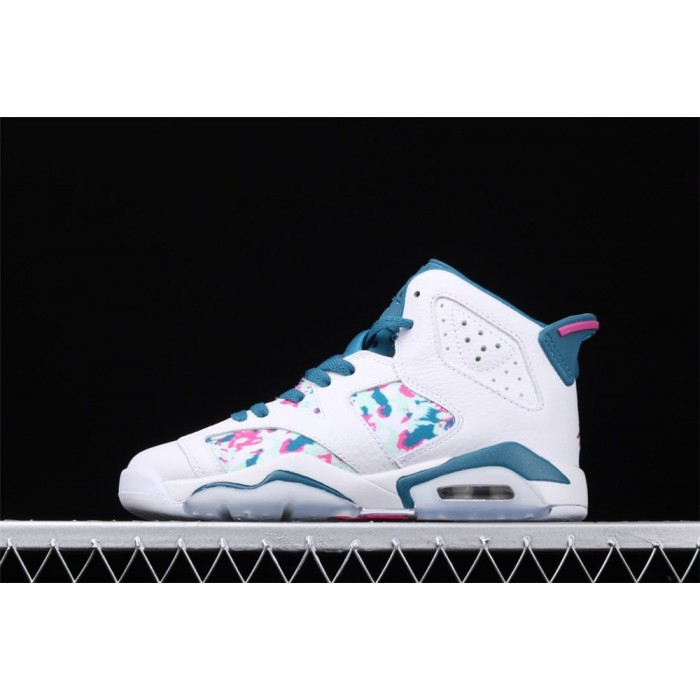 Women's Air Jordan 6 Retro GS Green Abyss In White AJ6 Shoe