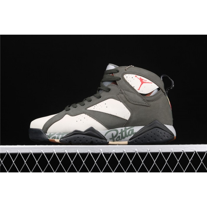 Men's Air Jordan 7 Patta Dark Green Graffiti AJ7 Shoes