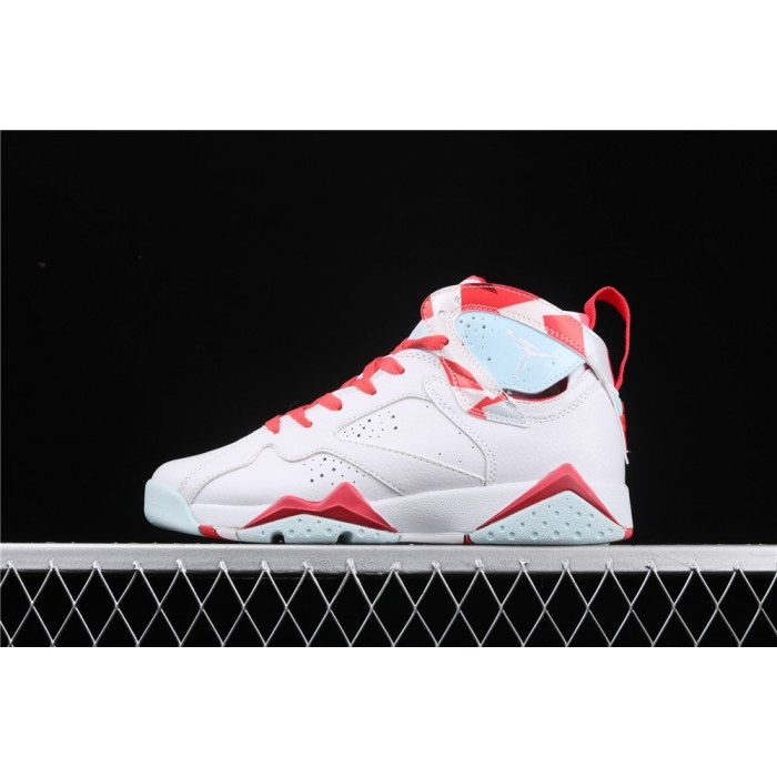 Women's Air Jordan7 Topaz Mist GS White Red AJ7 Shoes